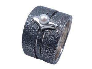stor ring oxyderet rustik ferskvandsperle perle hvis sølv ring håndlavet sammensæt