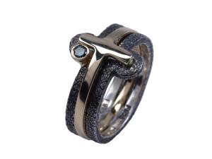 OLYMPUS DIGITAL CAMERAAlfa duo blankt guld smuk ring håndlavet sølv rustikt oxyderet blå brilliant sølv