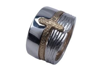 Alfa omega basis unika rustikt sølv guld sølvring guldring håndlavet sammensat