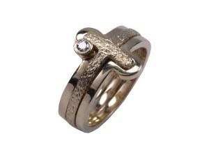 Alfa omega duo sammensat smukt rustikt glat guld diamant brillaint håndlavet