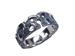 blonde ring blonde ring sølvring oxyderet ring rustik ekstra bred omega oxyderet ring rustik