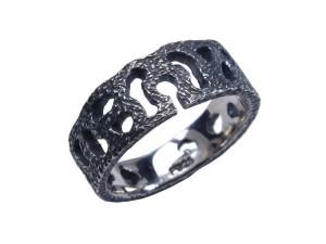 Omega ring sølv blondmønster mønster oxyderet rustik